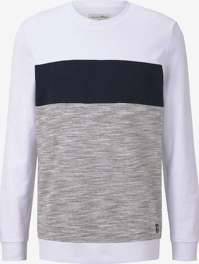 TOM TAILOR DENIM Sweatshirt in grau / schwarz / weiß, Produktansicht