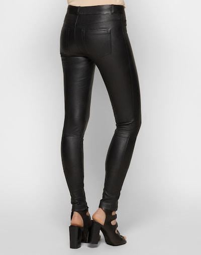 SET Stretch Lederleggings in schwarz: Rückansicht