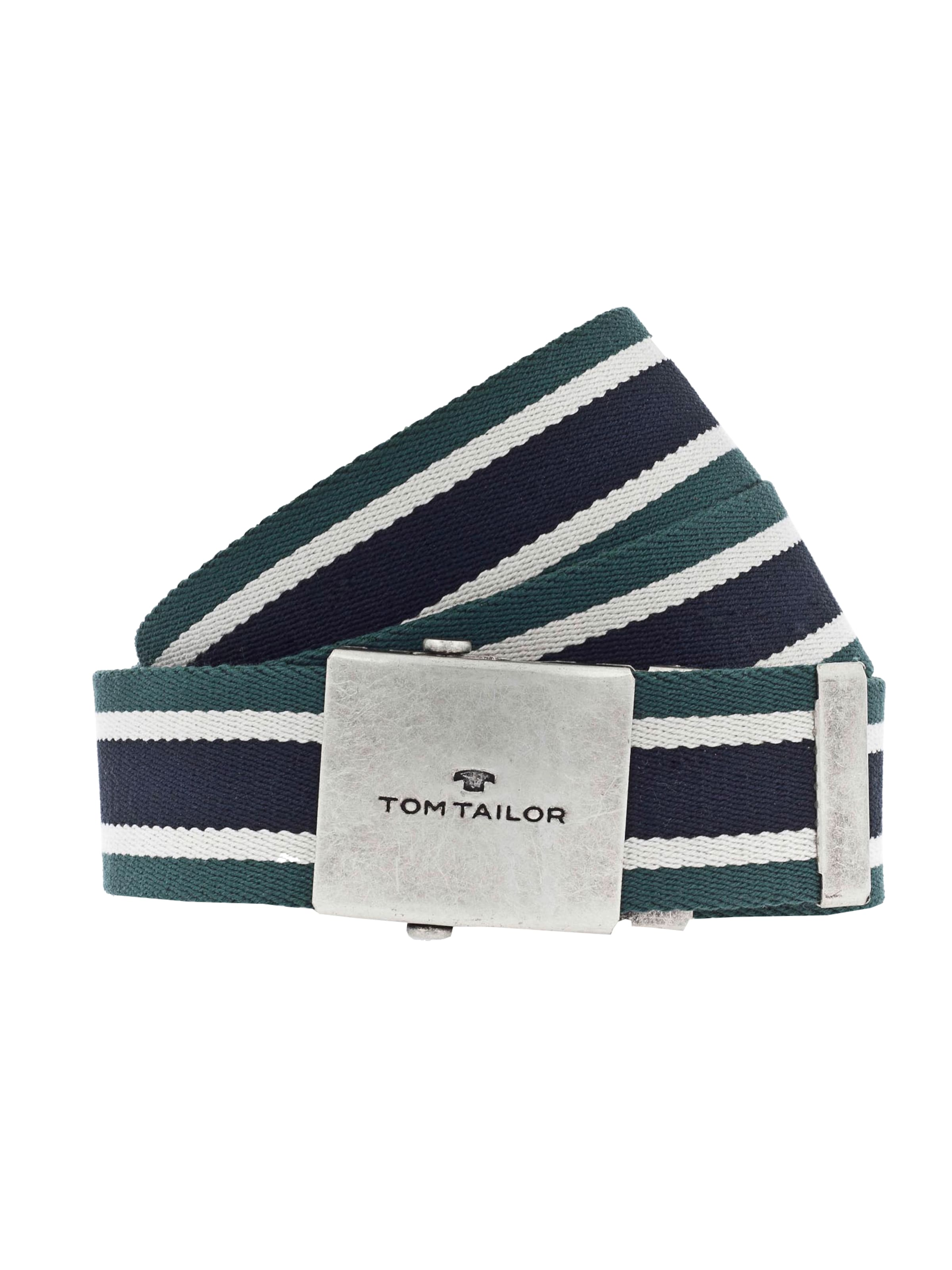 Tom Tailor Gürtel Stripes' NavyDunkelgrün In Webbing With Belt Weiß 'cotton rxodBCe
