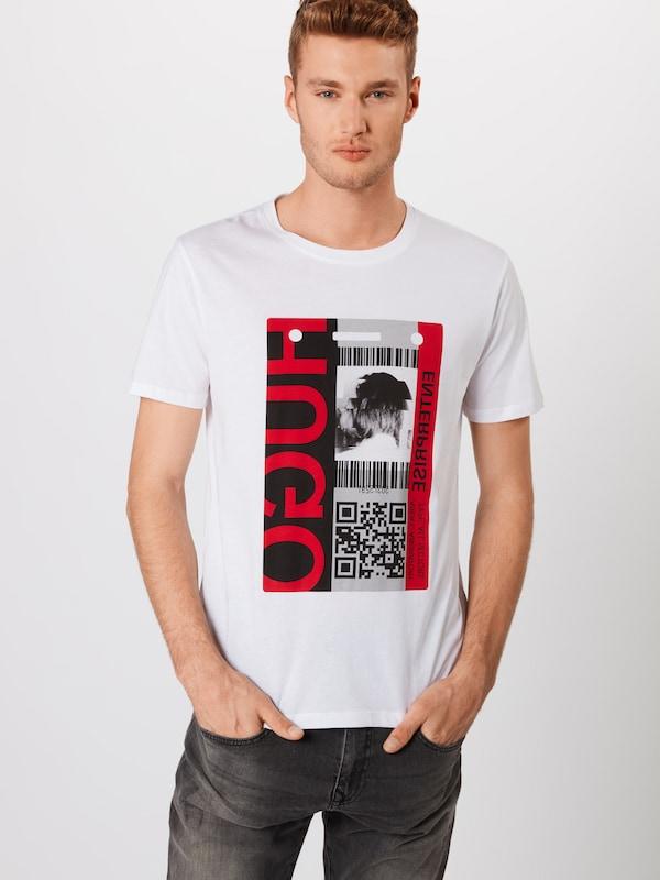 HUGO Shirt 'Didentity 10103774 01' in in in grau   rot   weiß  Bequem und günstig 19710a