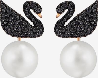 Swarovski Ohrstecker 'Iconic Swan' in rosegold / schwarz / perlweiß, Produktansicht