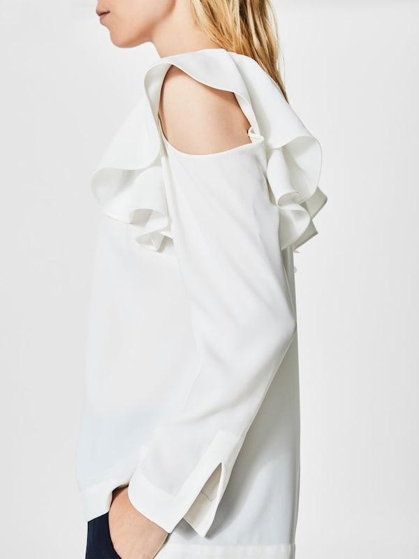 SELECTED FEMME Cold-Shoulder-Oberteil mit langen Ärmeln