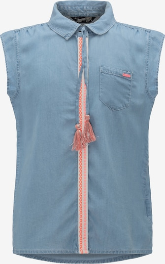 Petrol Industries Bluse in blue denim / koralle / weiß, Produktansicht