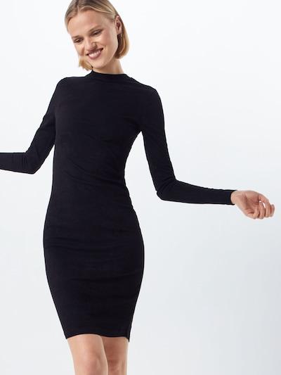 Urban Classics Kleid 'Ladies Peached Rib Dress LS' in schwarz, Modelansicht