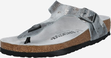 BIRKENSTOCK T-Bar Sandals 'Gizeh' in Silver