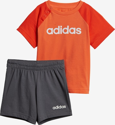 ADIDAS PERFORMANCE T-Shirt + Shorts in dunkelgrau / orange / weiß, Produktansicht