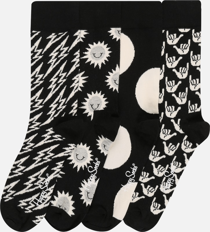 Happy Socks Socken 'Black And White' in schwarz / weiß, Produktansicht