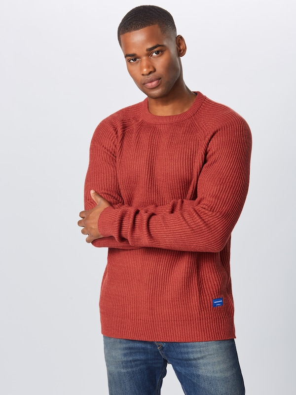 JACK & JONES Pullover 'JORPANNEL KNIT CREW NECK.' in rostrot: Frontalansicht