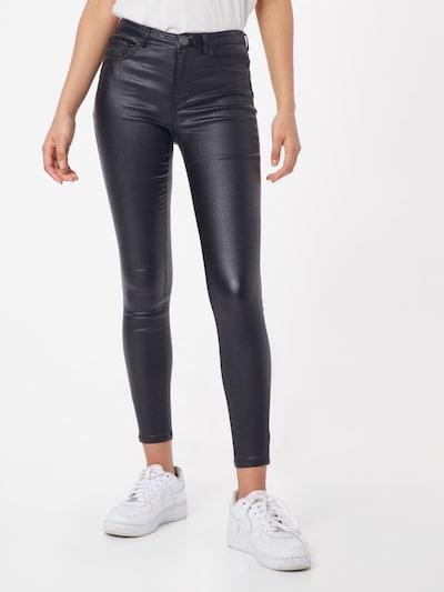 ONLY Jeans 'ONLAYGO REG ANK METALLIC COATED PANT' in de kleur Zwart: Vooraanzicht