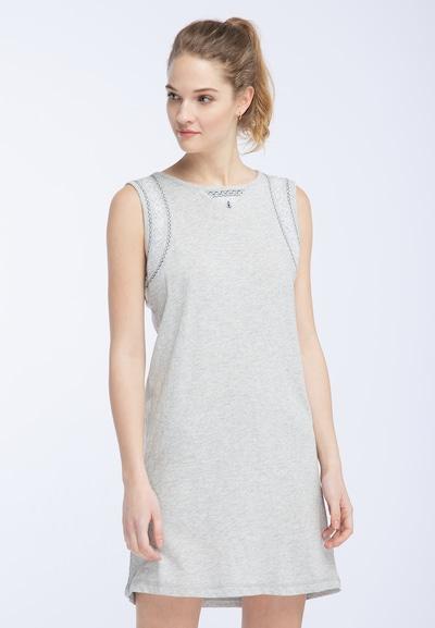 DREIMASTER Kleid in blau / graumeliert / weiß, Modelansicht