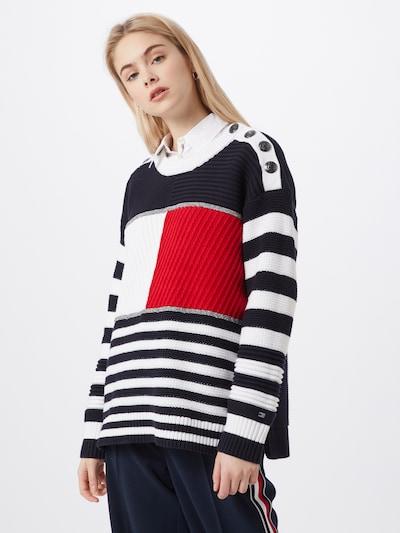 TOMMY HILFIGER Pullover 'KENYA' in nachtblau / rot / weiß, Modelansicht