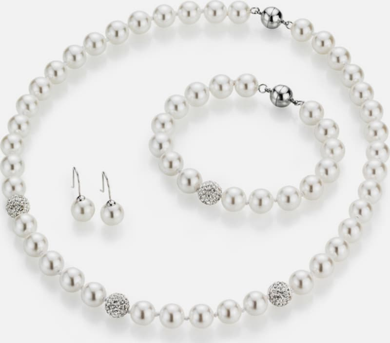 Firetti Jewelery: Collier, Bracelet And Pair Of Earrings Hook With Pearl And Crystal Stones