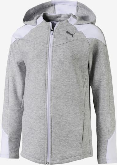 PUMA Sweatjacke 'Evostripe' in graumeliert / weiß, Produktansicht
