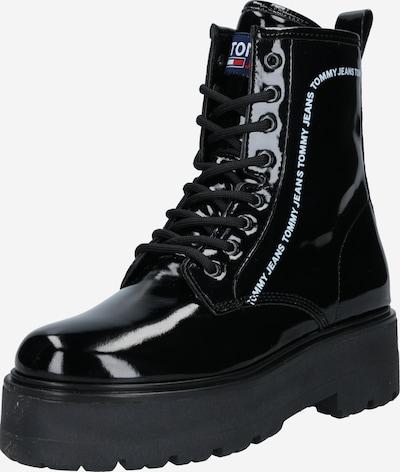 Tommy Jeans Gležnarji z vezalkami 'PATENT LACE UP' | črna / bela barva, Prikaz izdelka