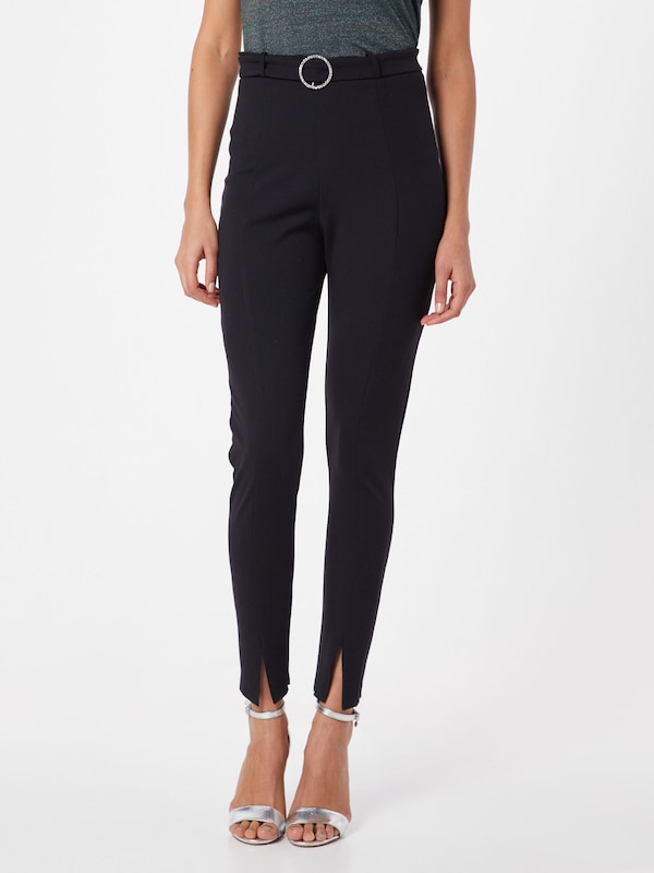 Missguided Hose 'Diamante Belted Slit Front Cigarette Trouser' in schwarz: Frontalansicht