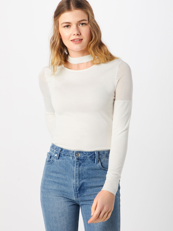 'cut Ink Pull En Lost Out Sheer Blanc Jumper' over Knitted Shoulder Cassé 9IWD2HEY
