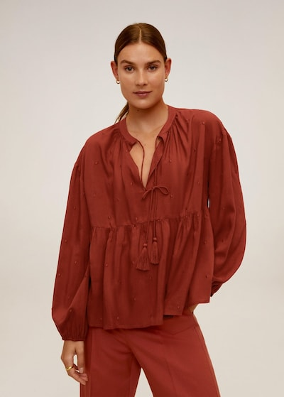 MANGO Bluse 'Feather' in rostrot, Modelansicht