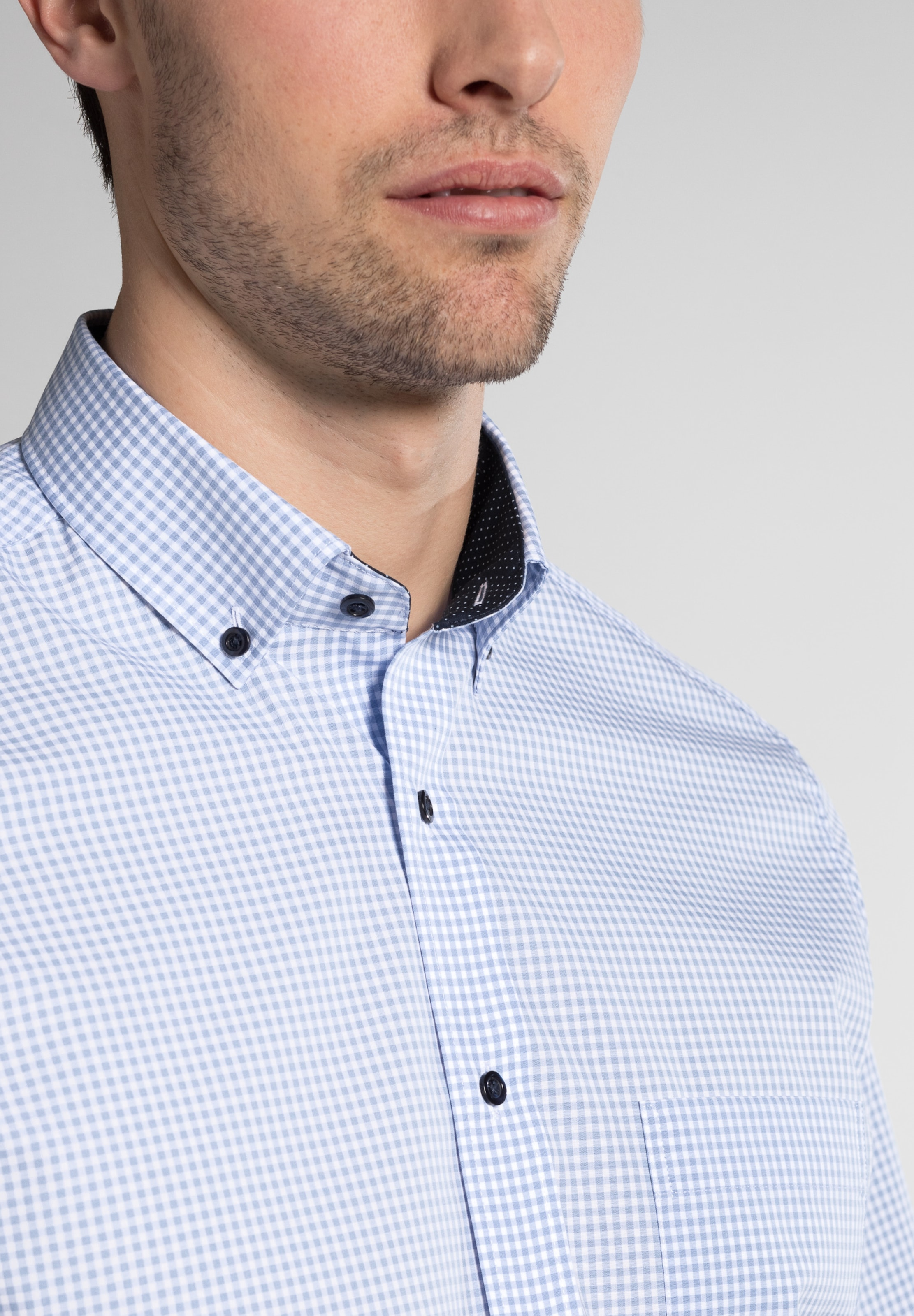 'modern Eterna HellblauWeiß Hemd Fit' In 4jLq5AR3