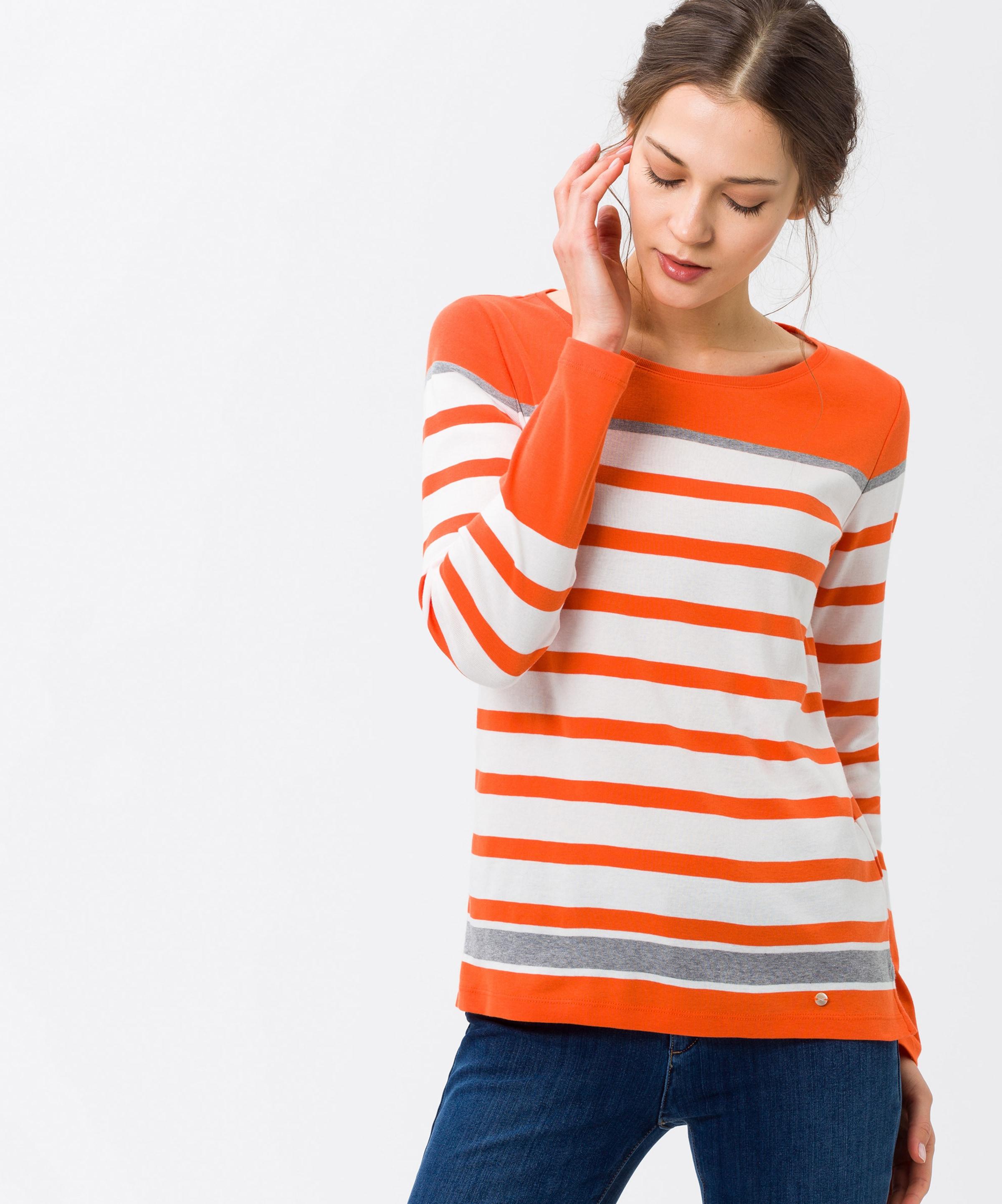 Shirt In 'collene' Brax Weiß GraumeliertDunkelorange ONXPkw8n0