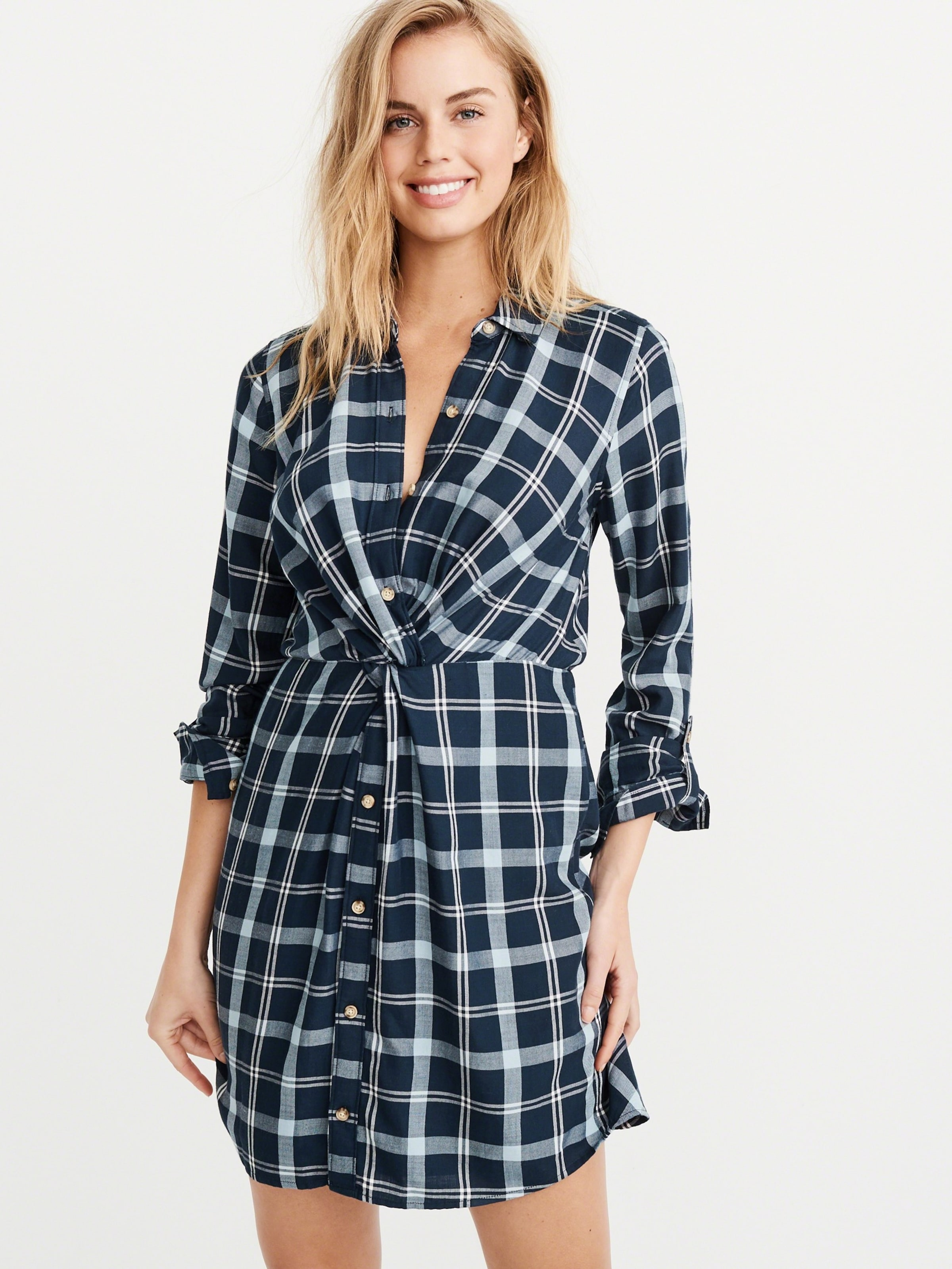 Blau 'knot Shirtdress' Fitch Kleid Front Abercrombieamp; In BdrCoexW