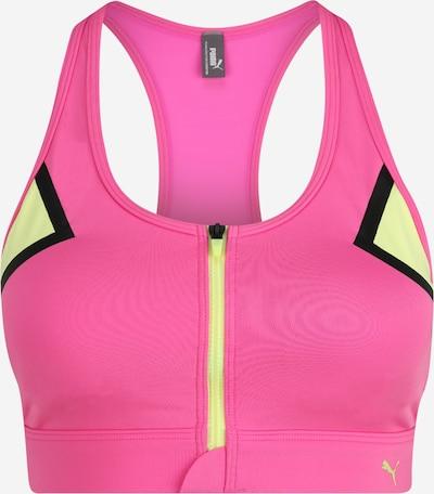 PUMA Sport-BH in hellgelb / pink / schwarz, Produktansicht