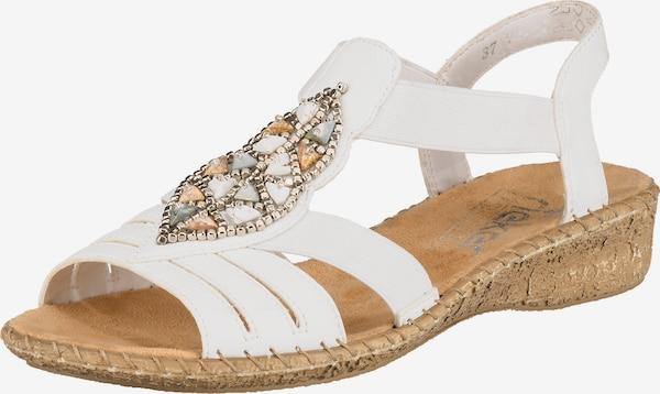 rieker sandalen mit schmuck weiß