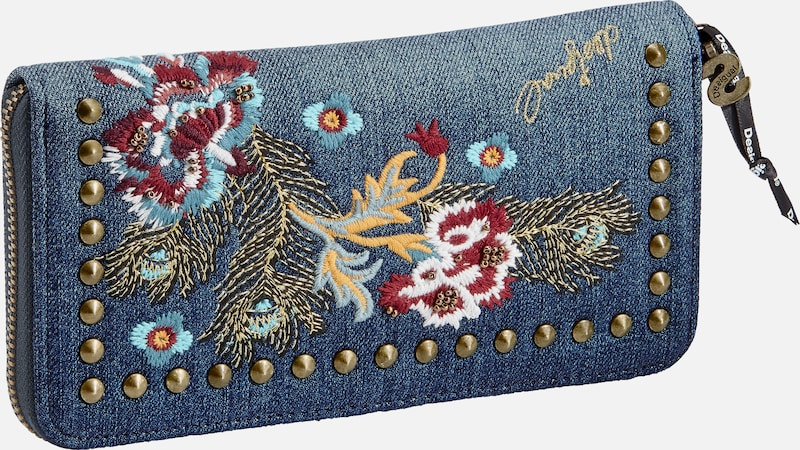 Desigual Portemonnaie mit Blumenstickerei und Nieten