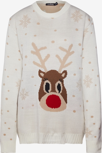 Boohoo Pullover 'Snowflake Reindeer Christmas' in creme, Produktansicht