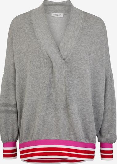 SoSUE Sweatshirt in graumeliert / pink / rot / weiß, Produktansicht