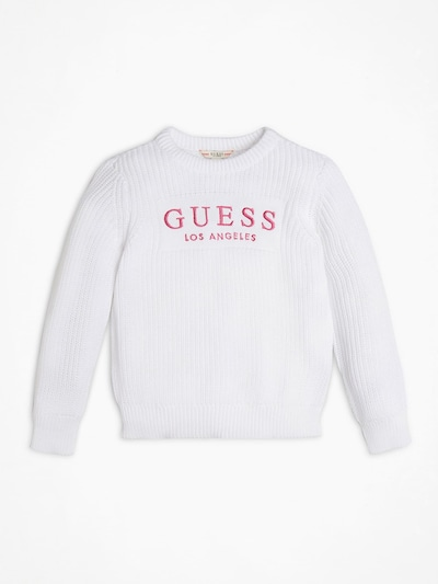 GUESS KIDS Pullover in pink / weiß: Frontalansicht