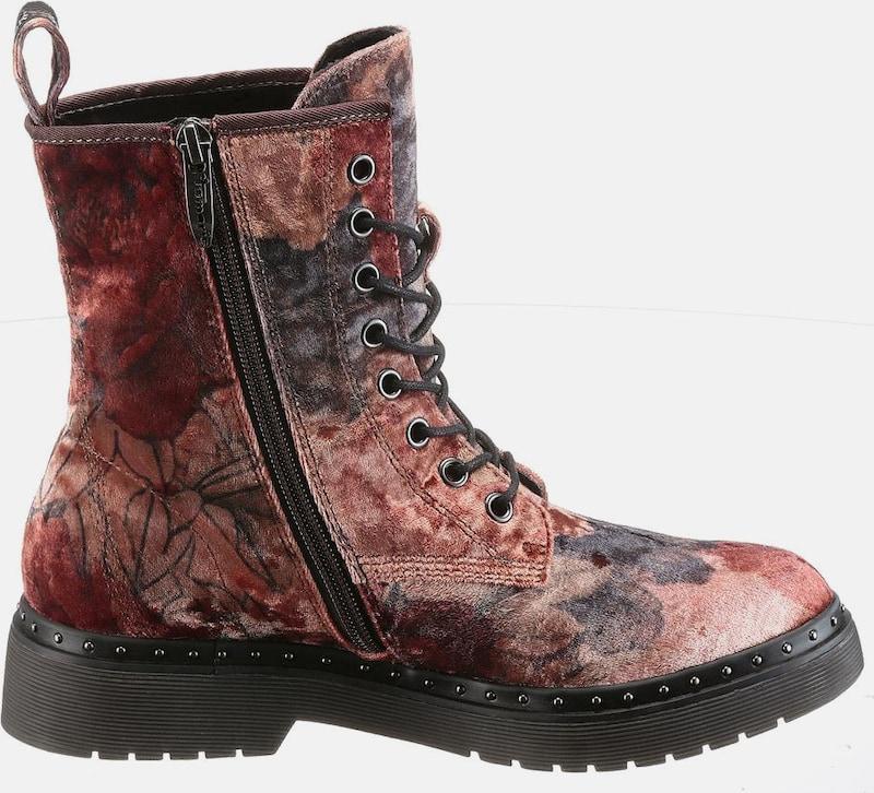 TAMARIS Schnürstiefellette in Samt-Optik Verschleißfeste billige Schuhe