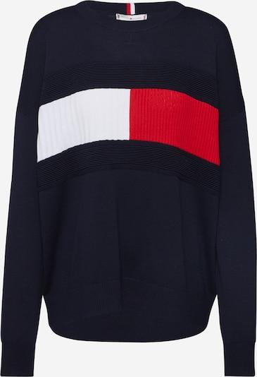 TOMMY HILFIGER Pullover 'Structured Flag' in dunkelblau / rot / weiß, Produktansicht