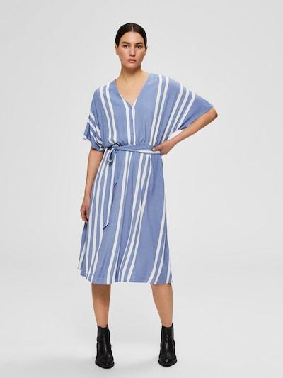 SELECTED FEMME Kleid 'SLFVIENNA' in taubenblau / weiß, Modelansicht