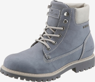 TOM TAILOR Schnürboots im Worker-Look in taubenblau: Frontalansicht