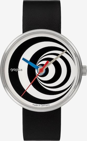 WALTER GROPIUS Uhr in himmelblau / rot / schwarz / silber / weiß, Produktansicht