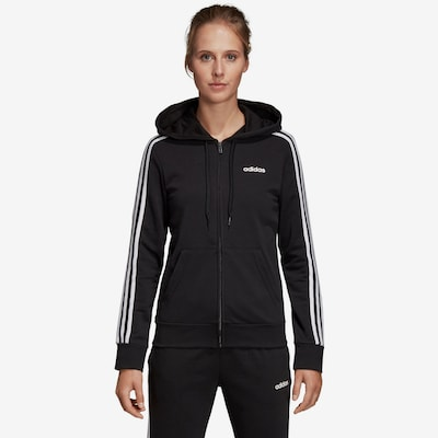 ADIDAS PERFORMANCE Sweatjacke 'Essentials Linear' in schwarz / weiß: Frontalansicht