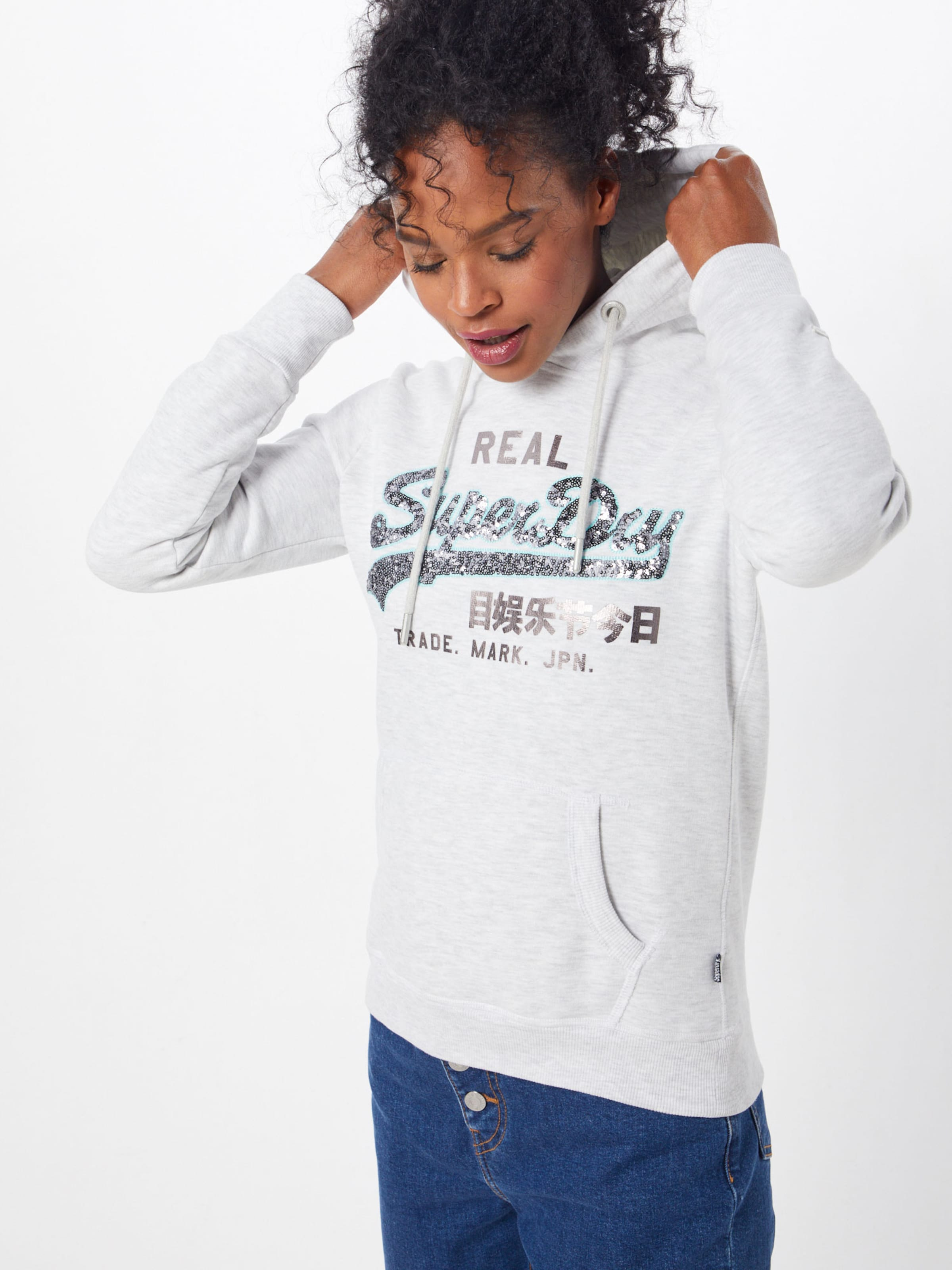 Line shirt Logo Superdry Cassé Sweat Blanc Entry Hood' Sequin 'v En 3AqRc4L5Sj