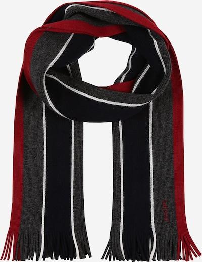 JOOP! Sjaal 'Raidon' in de kleur Antraciet / Grijs gemêleerd / Rood / Wit, Productweergave