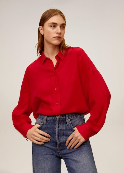 MANGO Bluse in hellrot: Frontalansicht