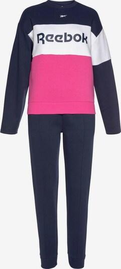 REEBOK Joggingssanzug 'Linear Logo Crew TS' in marine / pink / weiß, Produktansicht
