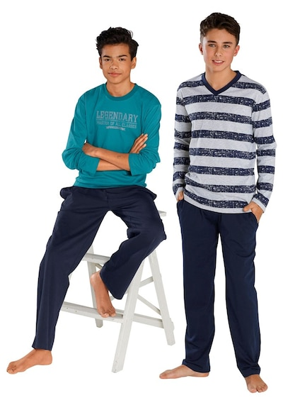 LE JOGGER Pyjama, lang (2 Stck.) in nachtblau / petrol / weiß, Produktansicht