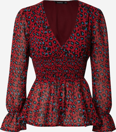 Boohoo Bluse in blau / rot / schwarz, Produktansicht