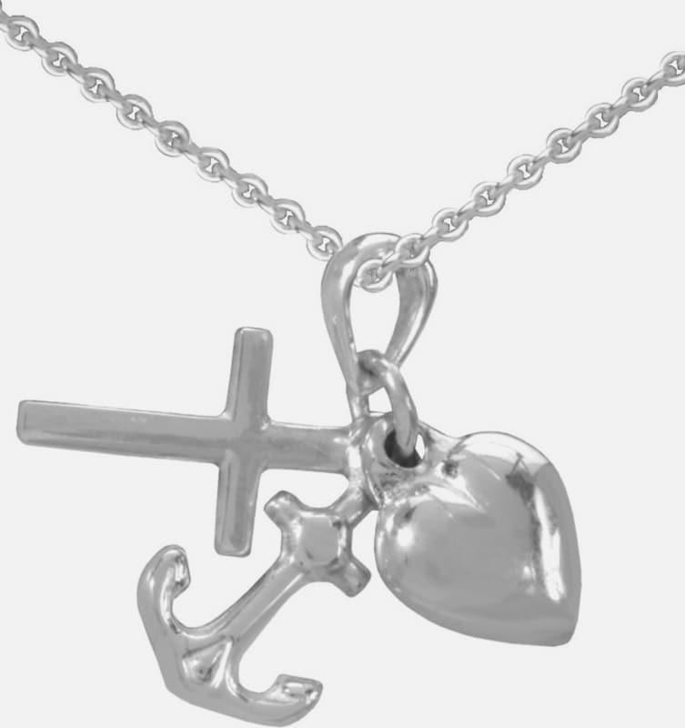FIRETTI Halskette »Glaube Liebe Hoffnung / Kreuz Herz Anker«