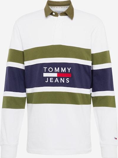 olíva / fekete / fehér Tommy Jeans Pulóver 'Panel Rugby', Termék nézet