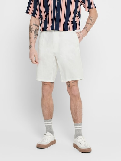 Only & Sons Leinen Shorts in weiß, Modelansicht