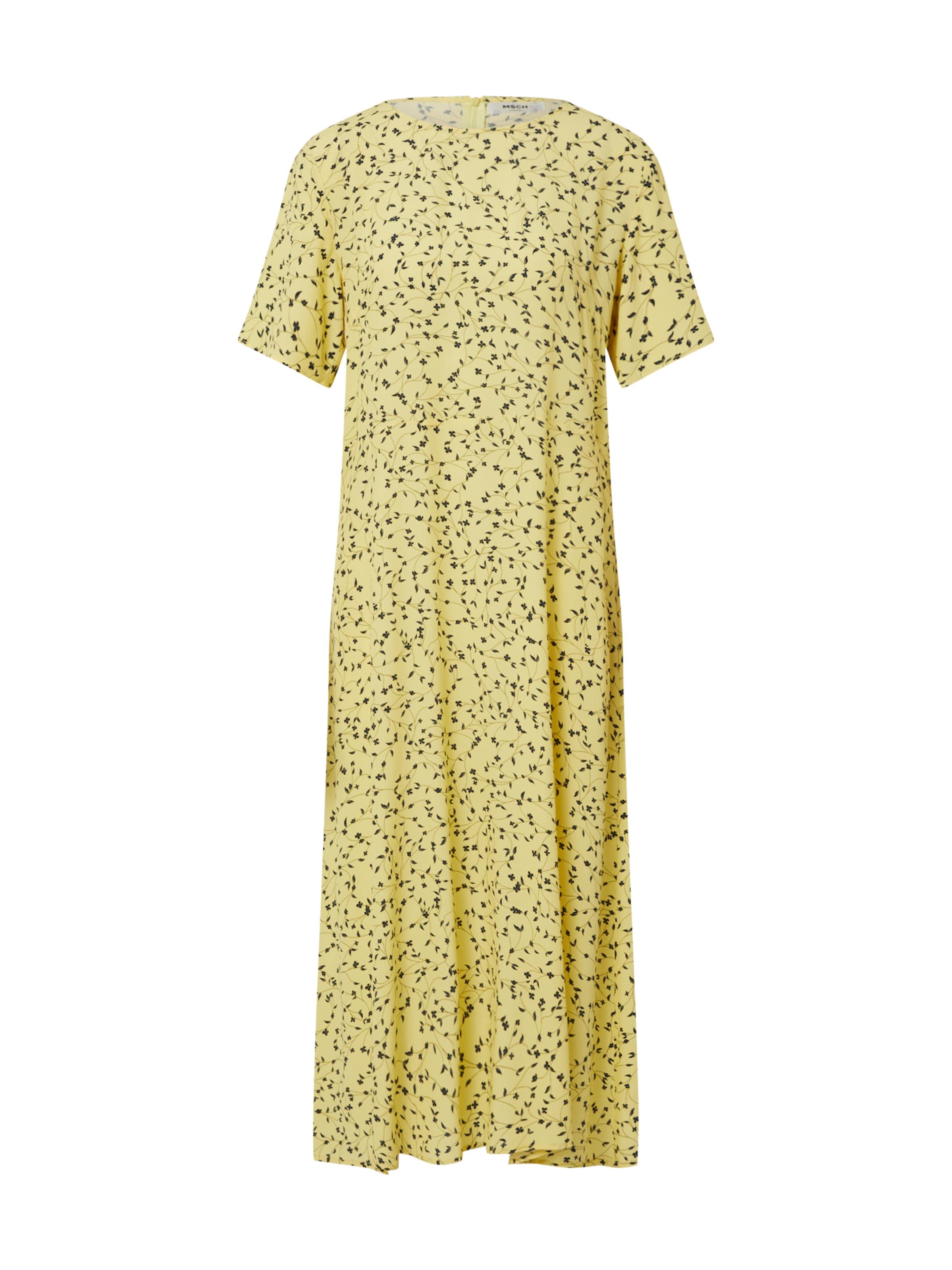 MOSS COPENHAGEN Kleid 'Jillian' in gelb / weiß