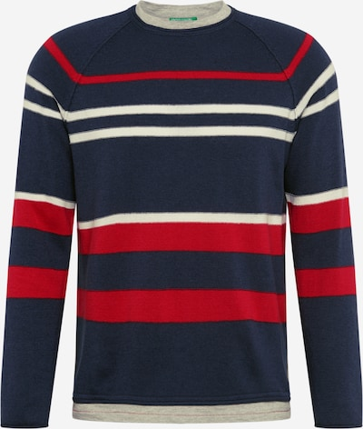 UNITED COLORS OF BENETTON Pullover in navy / rot / weiß, Produktansicht
