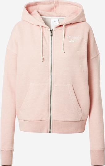 REEBOK Sweatjacke in rosa / weiß, Produktansicht