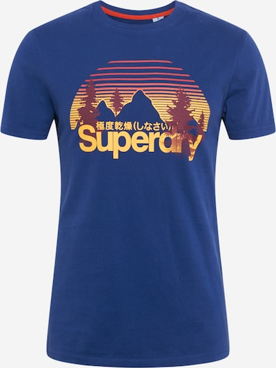 Superdry T-Shirt in blau / braun / gelb, Produktansicht