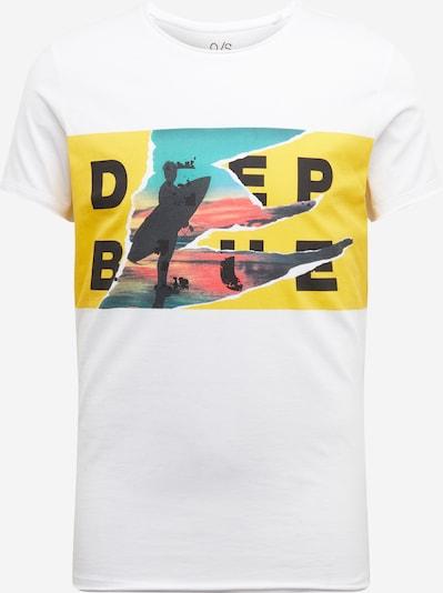 Q/S designed by T-Shirt in himmelblau / gelb / pink / schwarz / weiß, Produktansicht